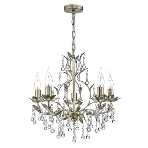 Laquila 5 Light Leaf Pendant Pale Distressed Gold Silver (Class 2 Double Insulated) BXLAQ0535-17
